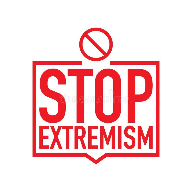 Geen extremism campagnepictogram Vectorillustratie van eindeextremism achtergronddieconcept, op een witte achtergrond wordt geïso royalty-vrije illustratie