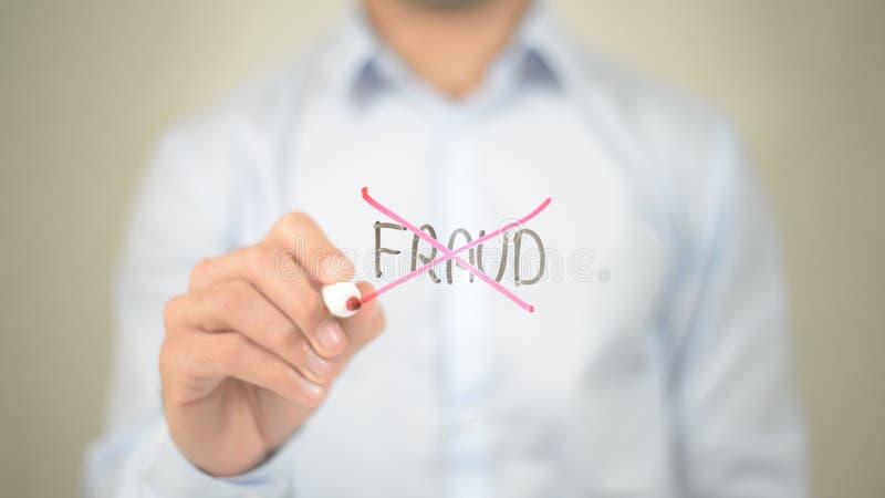 Geen Fraude, Mens die op het transparante scherm schrijven royalty-vrije stock fotografie