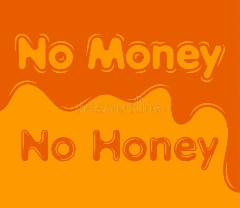 Geen geld geen achtergrond van het honings vlakke ontwerp vector illustratie