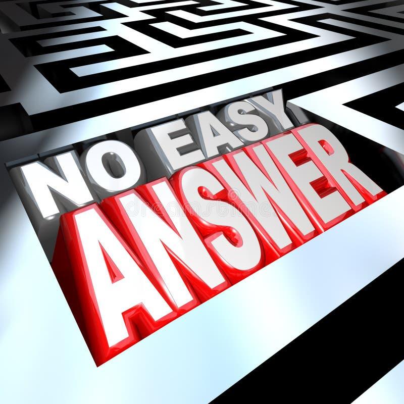 Geen Gemakkelijke Antwoordwoorden in 3D Maze Problem om op te lossen Overwonnen vector illustratie