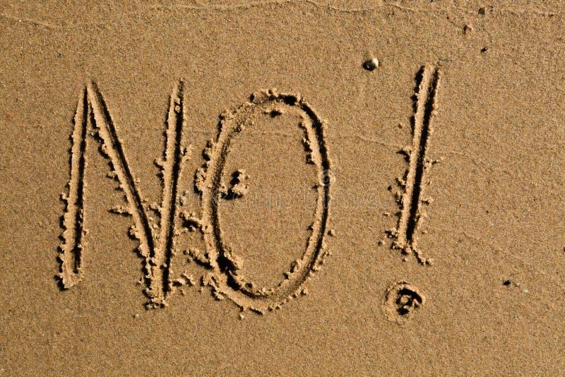 Geen geschreven in het zand stock afbeelding