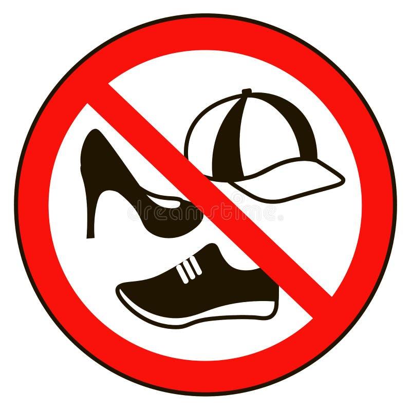 Geen GLB-waarschuwing van het schoenenteken Belemmerd openbaar informatiepictogram Het toegestane niet symbool van GLB en van de  vector illustratie