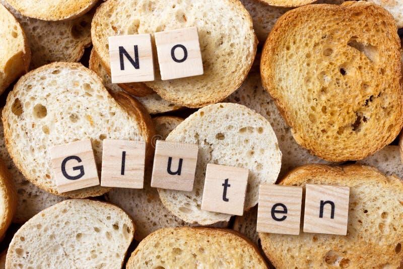 Geen glutentekst op Achtergrond van vele kleine ronde beschuiten Hoogste mening stock foto's