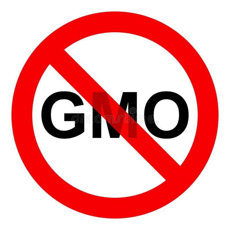 Geen GMO-tekenpictogram, zonder genetisch gewijzigd die voedselsymbool, op witte achtergrond wordt geïsoleerd, vectorillustratie royalty-vrije illustratie
