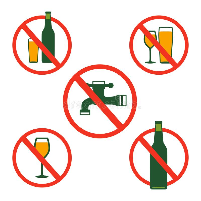 Geen het Drinken Alcohol Toegestaan niet Vectorpictogramsymbool royalty-vrije illustratie