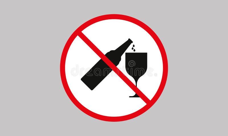 Geen het Drinken Alcoholbier, Geen alcoholteken royalty-vrije illustratie