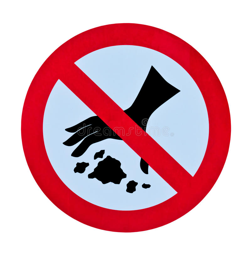 Geen het een rommel maken van huisvuilwaarschuwingssein stock foto