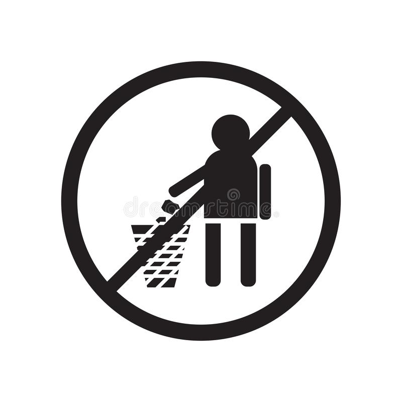 Geen het een rommel maken van vectordieteken en symbool van het Tekenpictogram op witte achtergrond, Geen het een rommel maken va stock illustratie