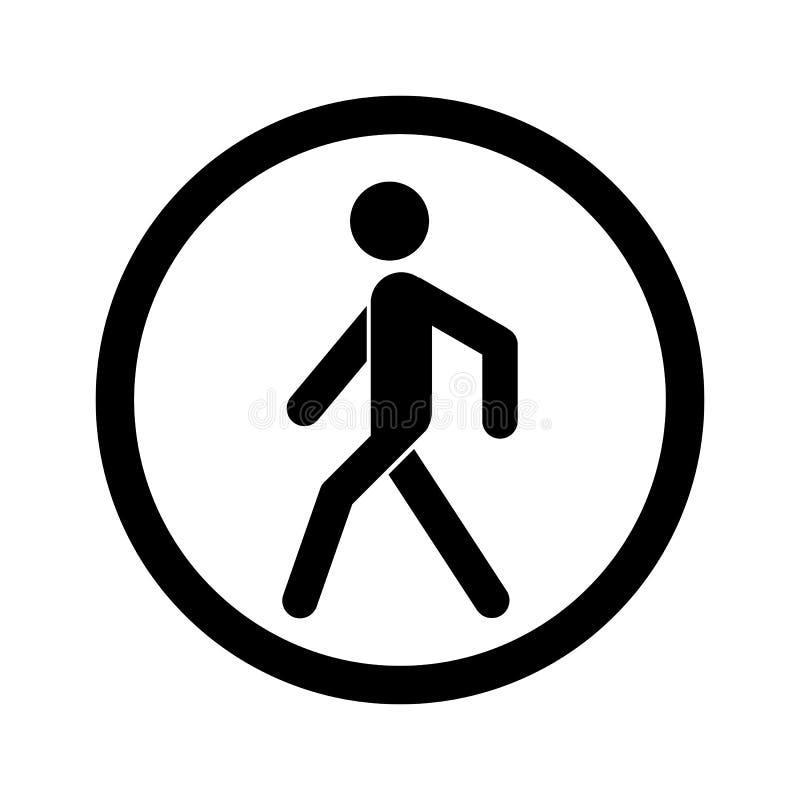 Geen het Lopen Teken Belemmerde zwarte die verkeersteken op witte achtergrond worden geïsoleerd Voetteken Het symbool van de eind stock illustratie