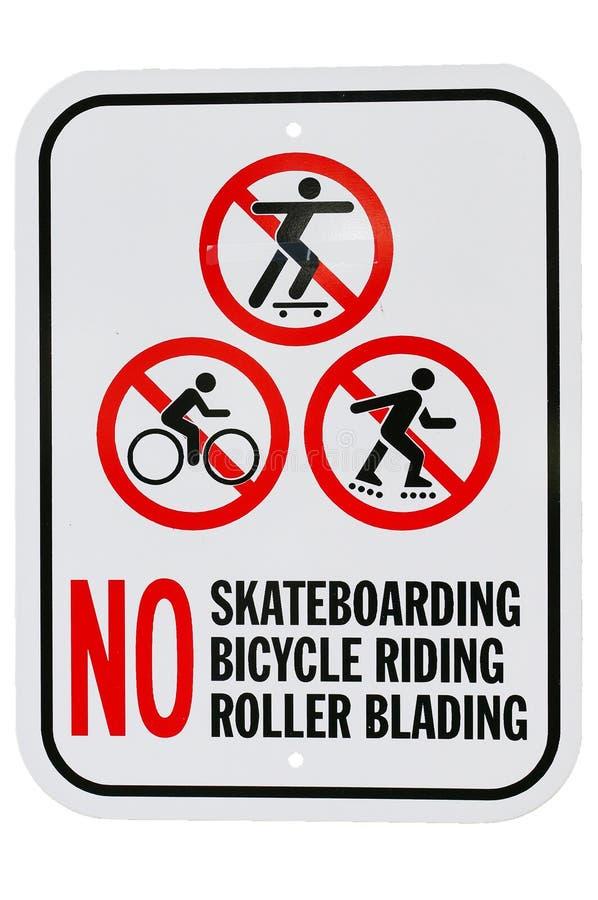 Geen het met een skateboard rijden blading van de fiets berijdende rol ondertekenen stock afbeeldingen