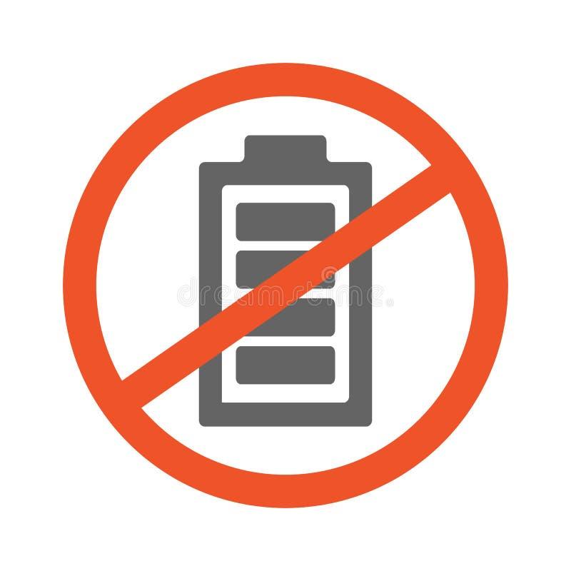Geen het ontwerpillustratie van het Batterijsymbool Verboden die teken met batterijpictogram op witte achtergrond wordt geïsoleer vector illustratie