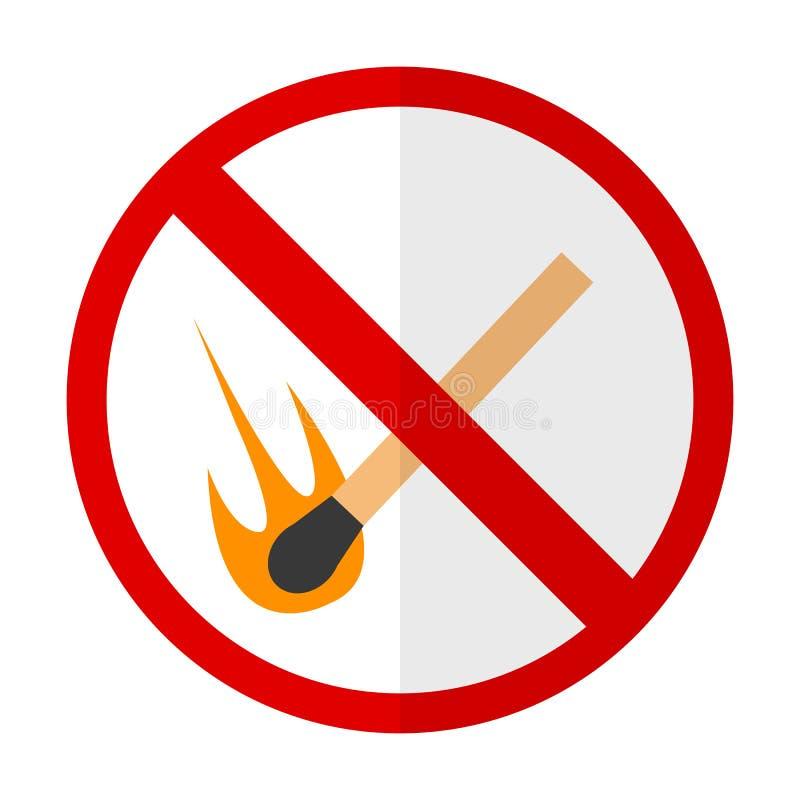 Geen het teken vlak pictogram van het open vlamverbod royalty-vrije illustratie