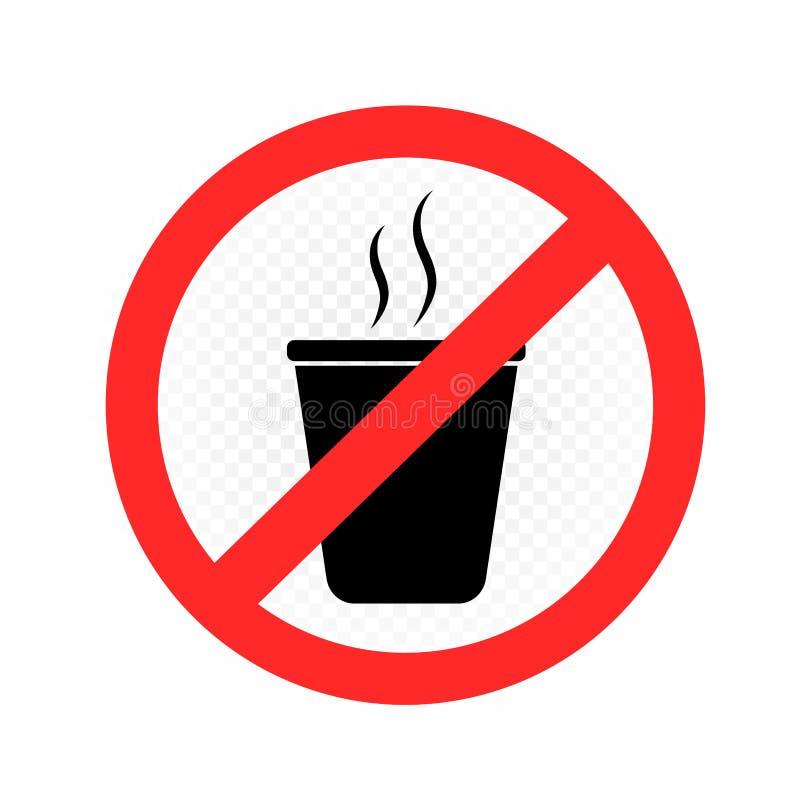 Geen hete drank stond etiket toe royalty-vrije illustratie