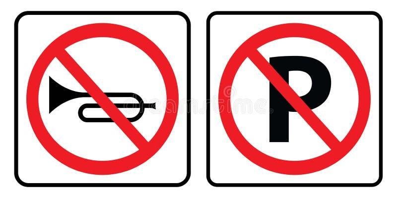 Geen hoornteken en geen parkerensymbool vector illustratie