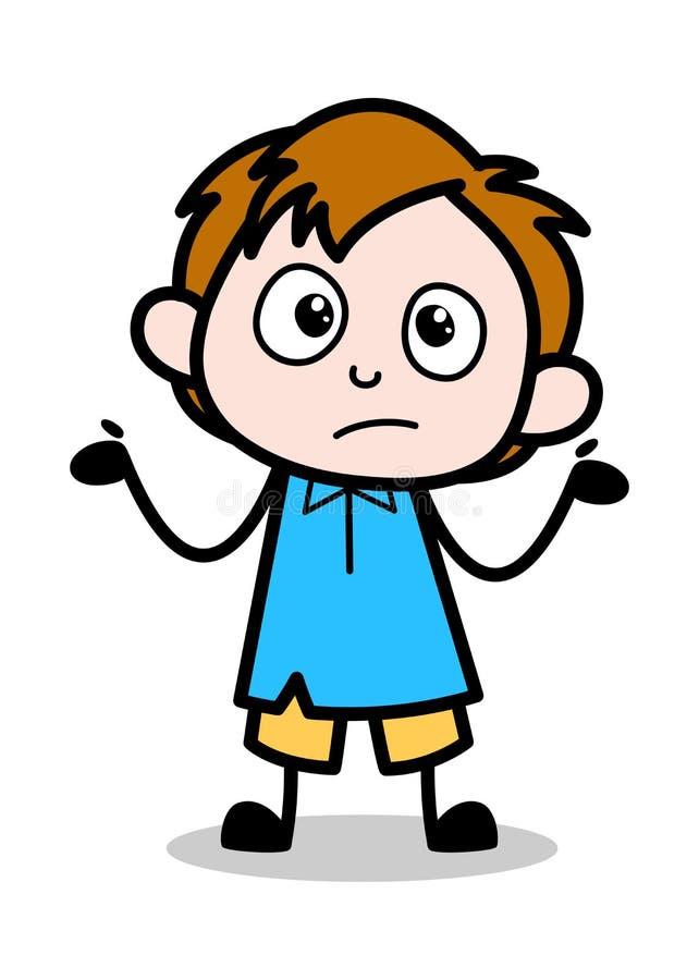 Geen idee - van het het Beeldverhaalkarakter van de Schooljongen de Vectorillustratie vector illustratie