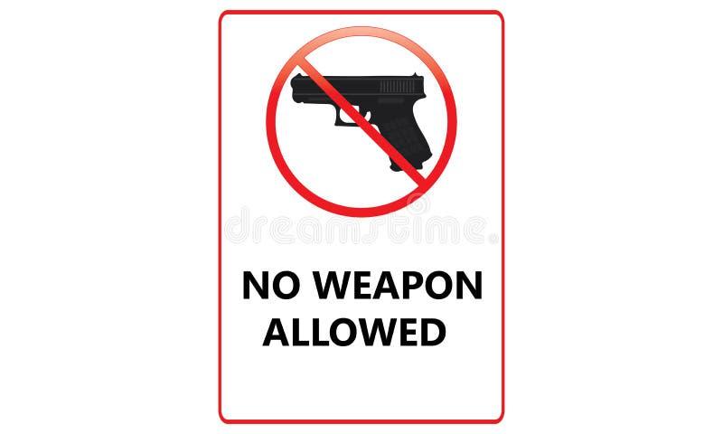 Geen Kanon Toegestaan Teken - Geen Wapens stonden Rood Logo Sign toe - stock illustratie