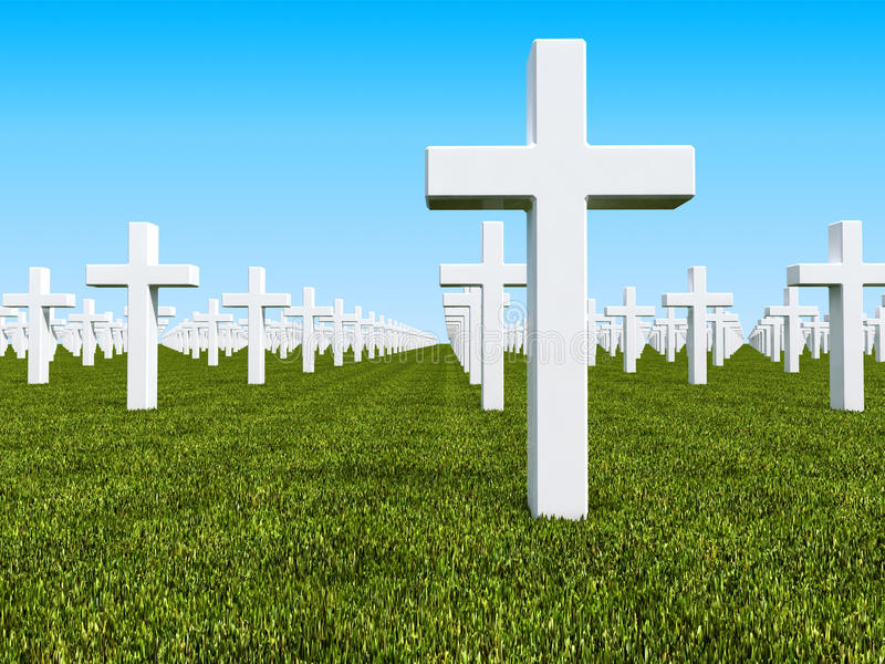 Geen land cemetery. Image 3d of traditional cemetery with grass and white cross stock illustration