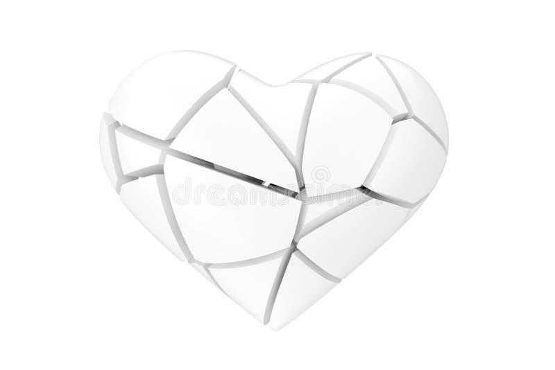 Geen Liefdesymbool Gebroken Wit Hart in Clay Style het 3d teruggeven royalty-vrije illustratie