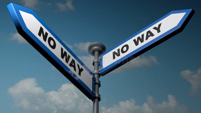 Geen manier - Geen pijlen van de manier blauwe straat - 3D teruggevende illustratie stock illustratie