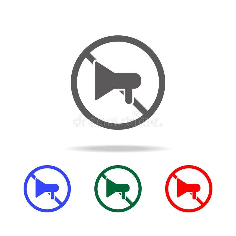 Geen megafoonpictogram Elementen in multi gekleurde pictogrammen voor mobiel concept en Web apps Pictogrammen voor websiteontwerp stock illustratie
