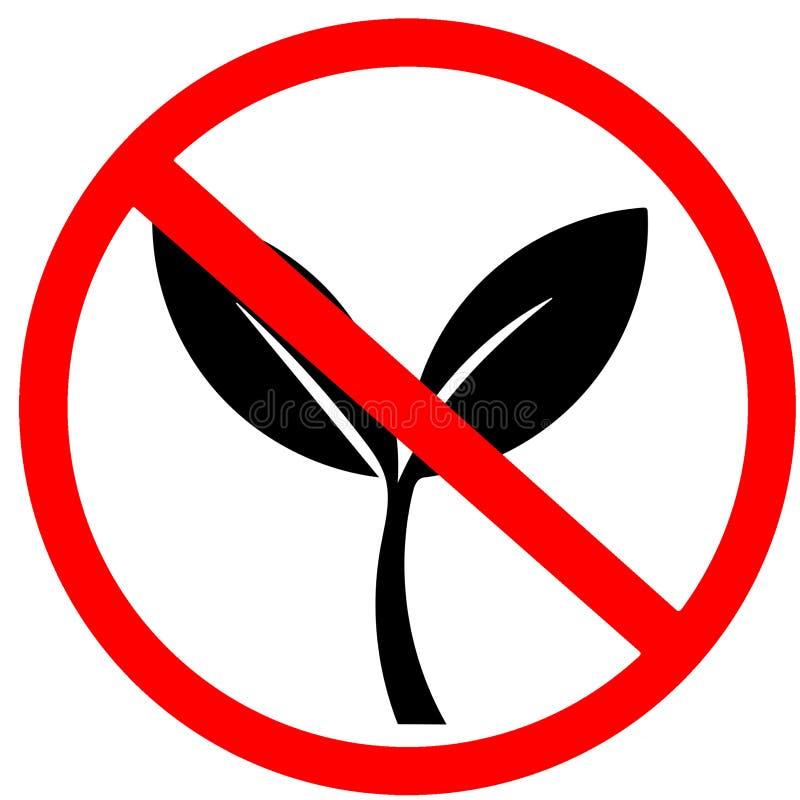 Geen natuurlijk, biologisch product, ecologic toegestaan niet voedsel Groene bladeren, bio, rode cirkel het verbodsverkeersteken  stock illustratie