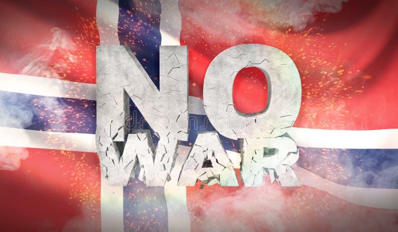 Geen oorlogsconcept Vlag van Noorwegen Gegolfte hoogst gedetailleerde stoffentextuur 3D Illustratie vector illustratie