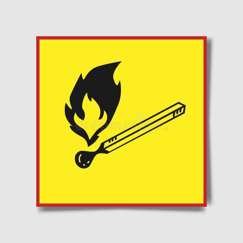 Geen open vlamteken Geen brand, Geen toegang met het teken van het open vlamverbod Zwart-wit rood, vector illustratie