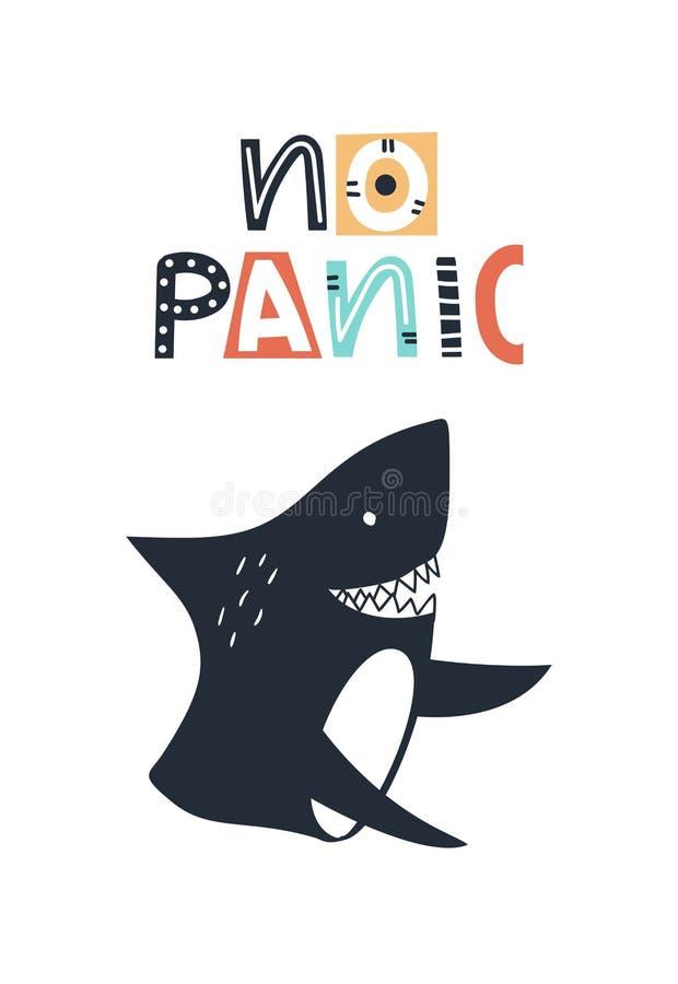 Geen paniek - de Leuke jonge geitjes overhandigen getrokken kinderdagverblijfaffiche met haai en het van letters voorzien op witt stock illustratie
