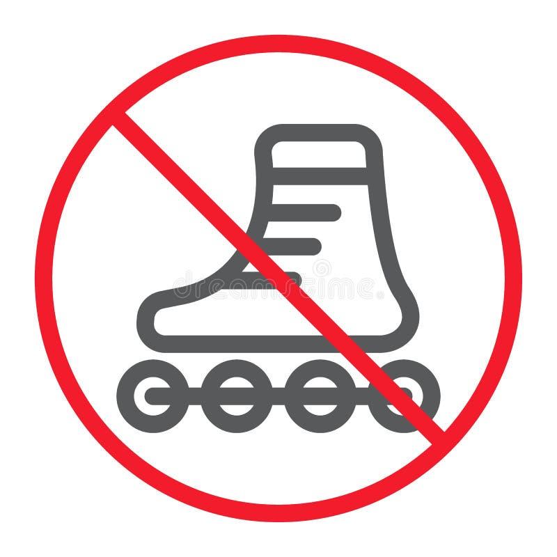 Geen pictogram van de Rolschaatsenlijn, verbod stock illustratie