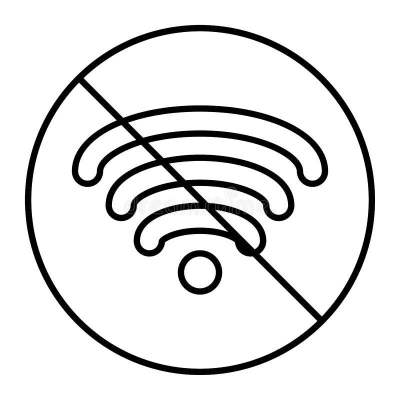 Geen pictogram van de wifi dun lijn Geen signaal vectordieillustratie op wit wordt geïsoleerd Geen die Internet-ontwerp van de ov royalty-vrije illustratie