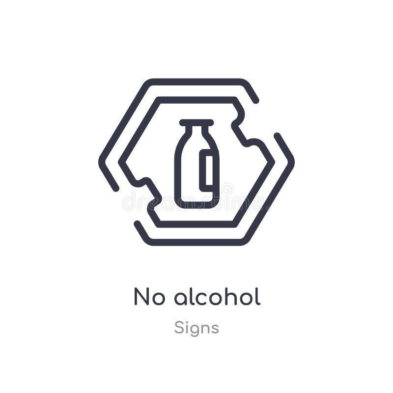 geen pictogram van het alcoholoverzicht ge?soleerde lijn vectorillustratie van tekensinzameling editable dunne slag geen alcoholp royalty-vrije illustratie