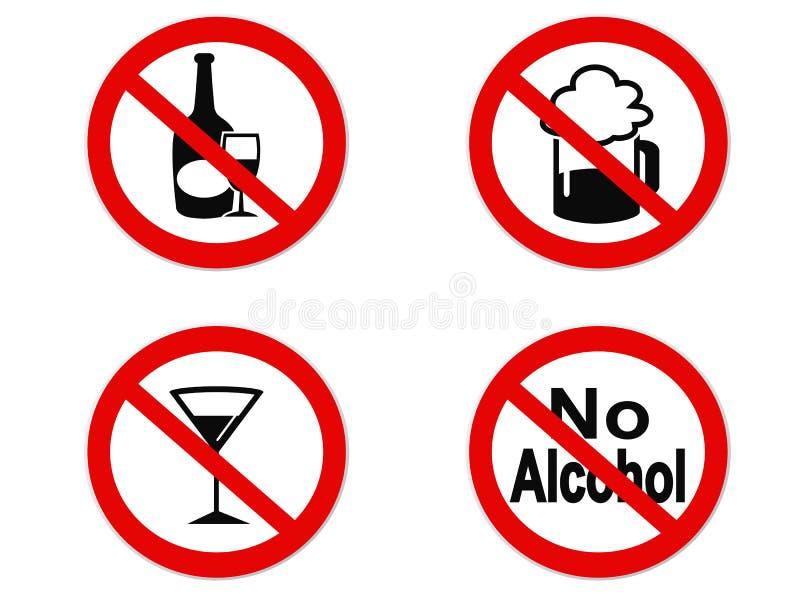 Geen pictogram van het Alcoholteken royalty-vrije illustratie