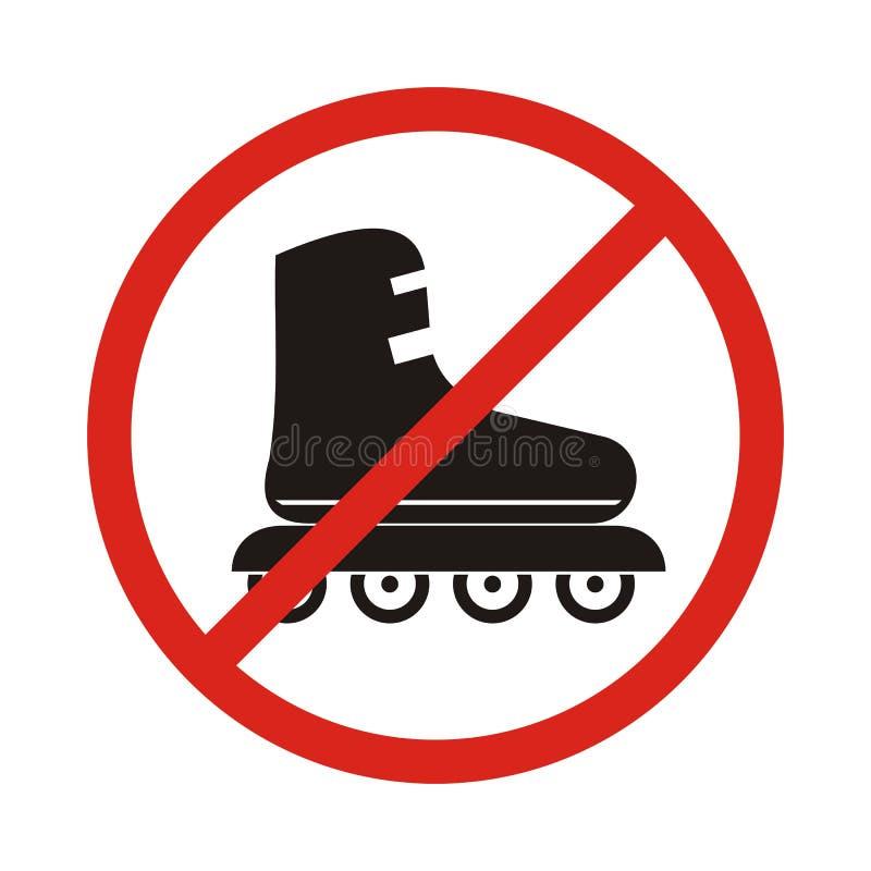 Geen pictogram van het Rolschaatsenteken Rollerbladessymbool Rood verbod stock illustratie