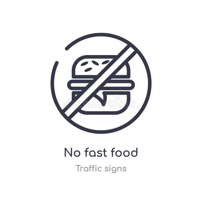 Geen pictogram van het snel voedseloverzicht ge?soleerde lijn vectorillustratie van verkeerstekeninzameling editable dunne slag g stock illustratie