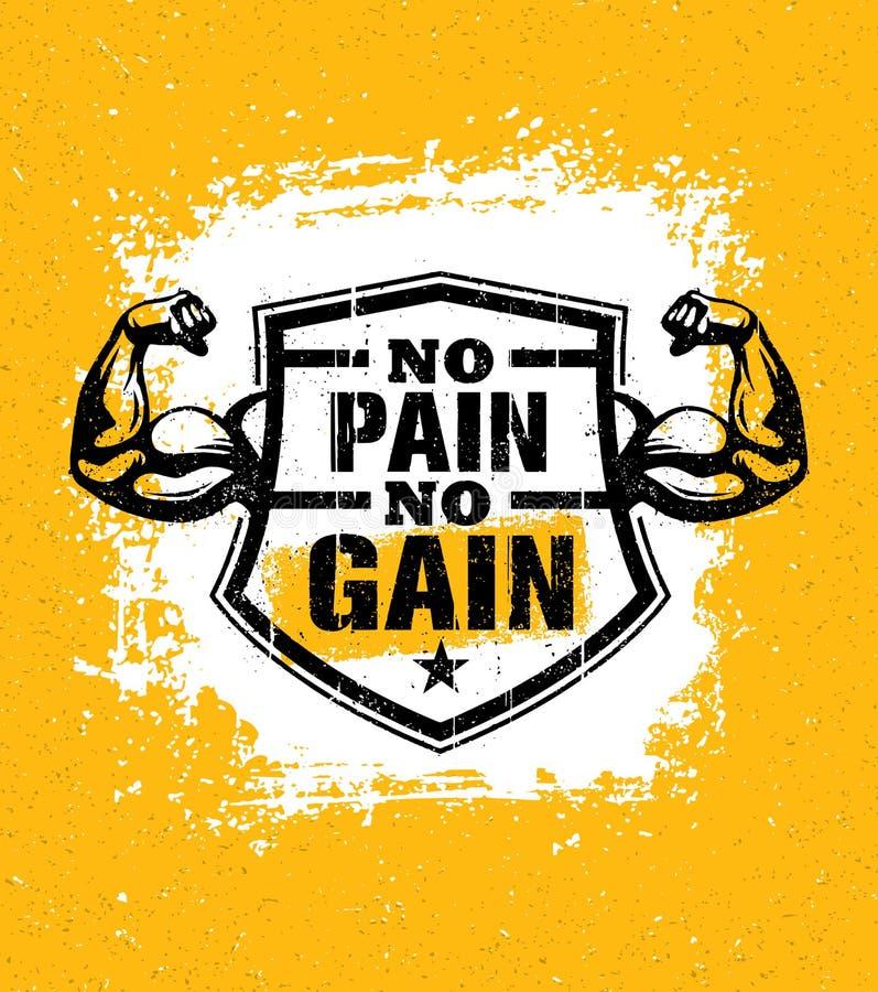 Geen pijn geen aanwinst Van het de Motivatiecitaat van de gymnastiektraining het Vectorconcept Sportfitness Inspiratieteken Spier vector illustratie