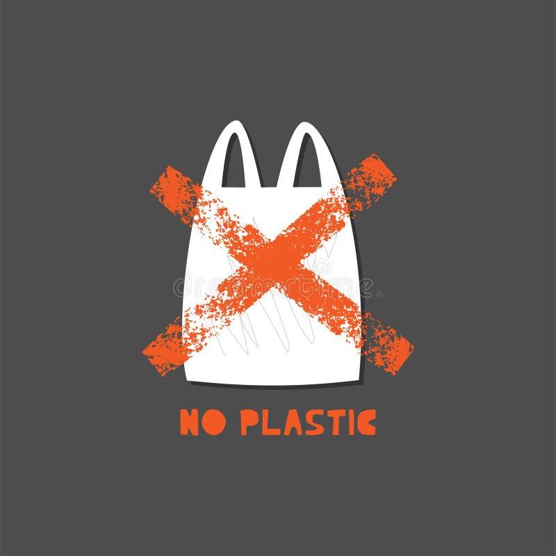 Geen plastic zak vectorillustratie royalty-vrije illustratie