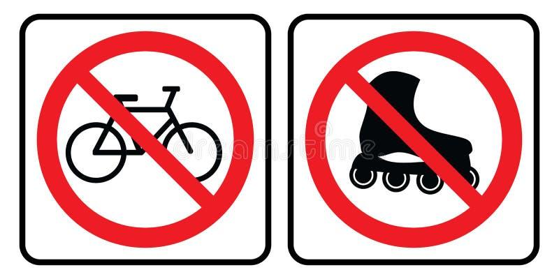 Geen Rolschaats en Geen fiets stock illustratie
