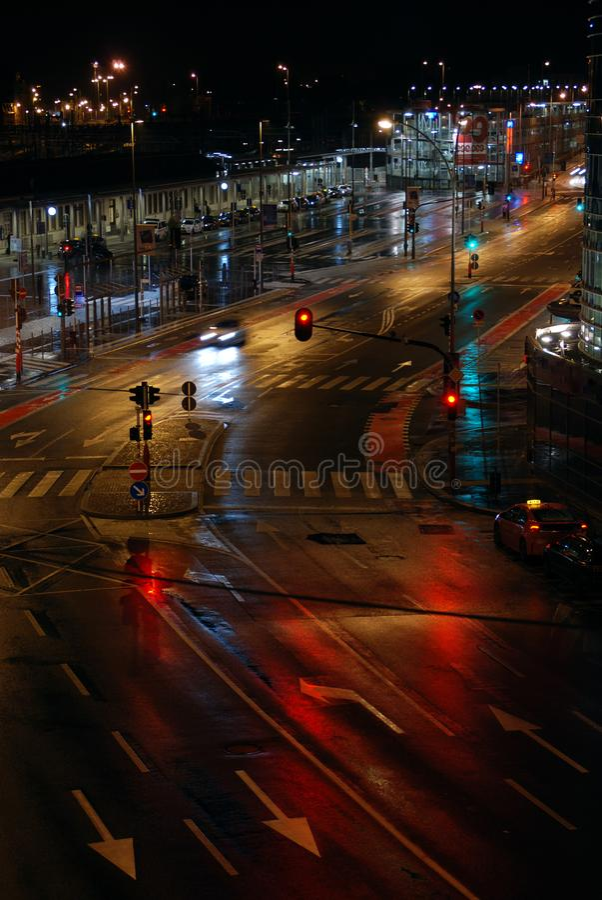 Geen stadsstormloop na de middernacht royalty-vrije stock afbeelding