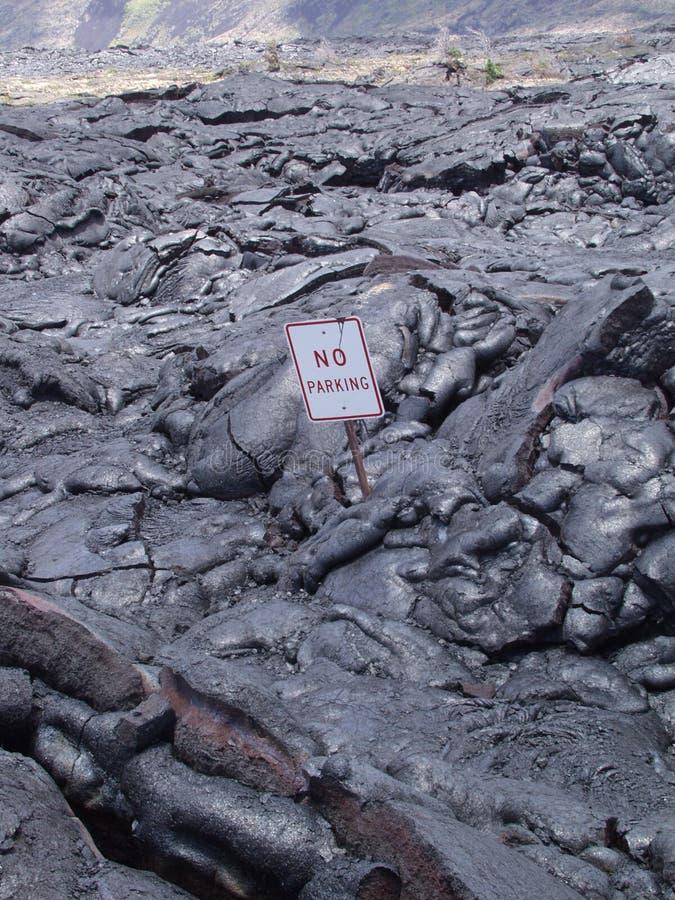 Geen Stroom van de Lava van het Teken van het Parkeren Vulkanische royalty-vrije stock fotografie