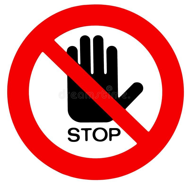 Geen toegangsteken, met hand en het woordeinde onder het vector illustratie