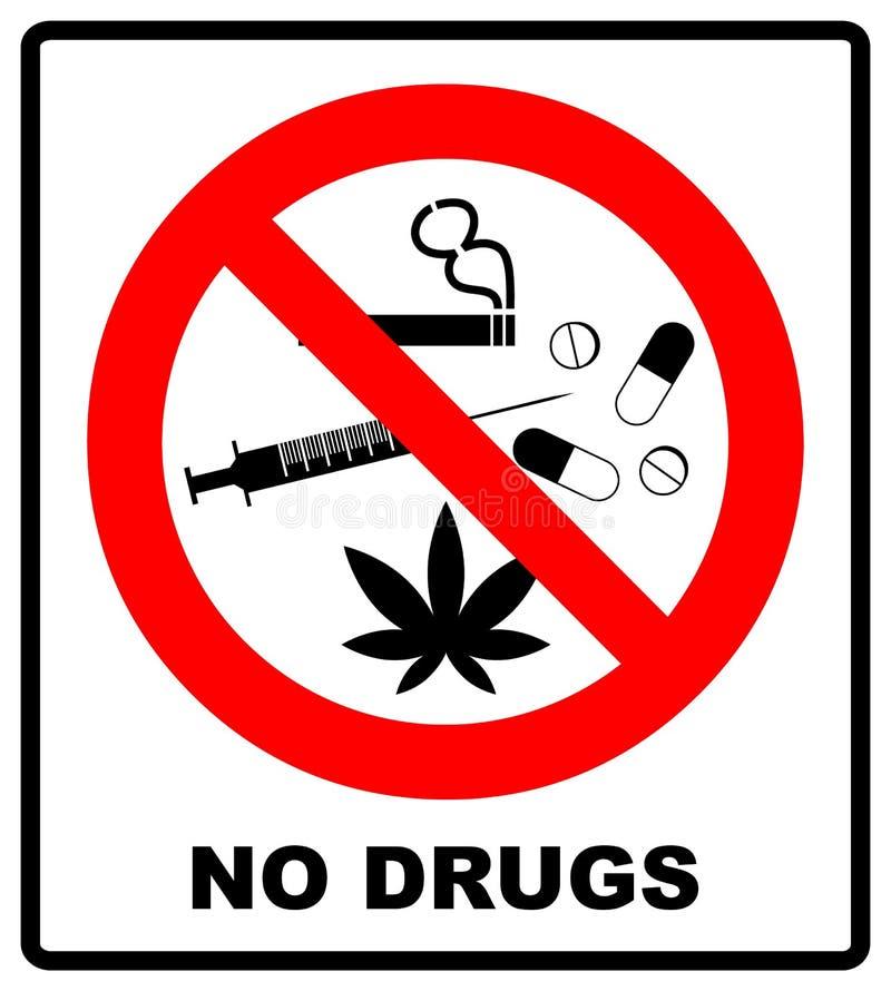 Geen toegestane drugs Geen capsule, marihuana, cannabis, tabak, cocaïne en andere drugs Rood verboden symbool Vector belemmerde i vector illustratie