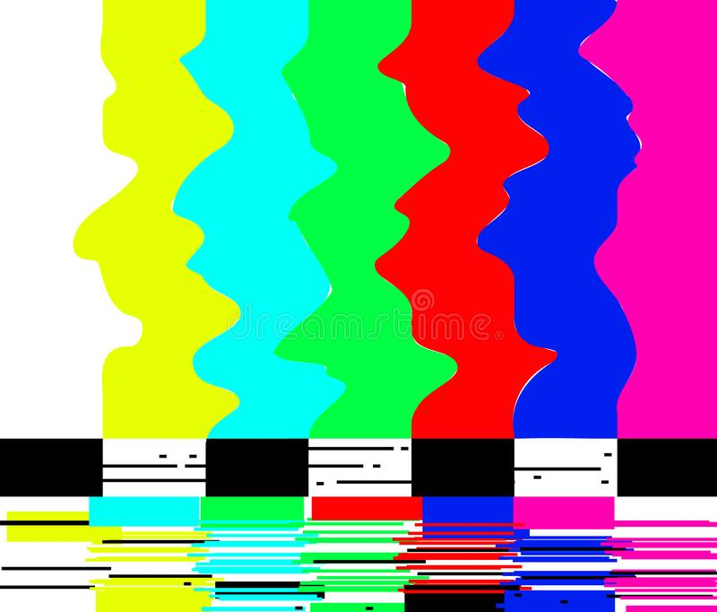 Geen van de de televisietest van TV van de signaalaffiche retro glitch van het het patroonscherm kleur als achtergrond verspert v stock illustratie