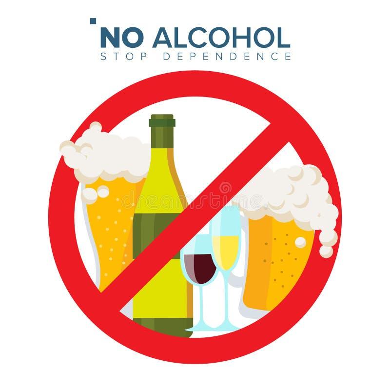 Geen Vector van het Alcoholteken Staking door Rode Cirkel Het concept van het alcoholmisbruik Verbodspictogram Geïsoleerd Vlak Be vector illustratie