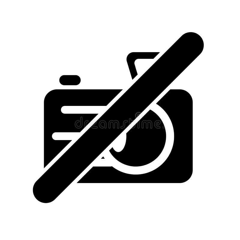 Geen vectordieteken en symbool van het camerapictogram op witte achtergrond, Geen concept van het cameraembleem wordt geïsoleerd royalty-vrije illustratie