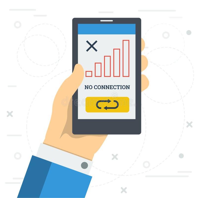 Geen verbindingsteken op smartphonemonitor stock illustratie