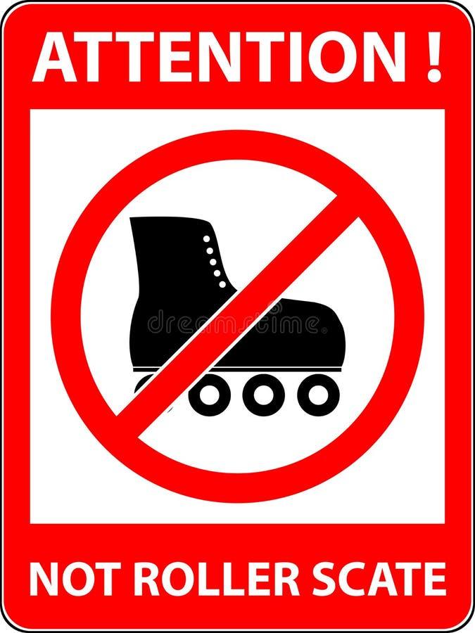 Geen vleet, rollerskate belemmerd symbool Vector stock illustratie