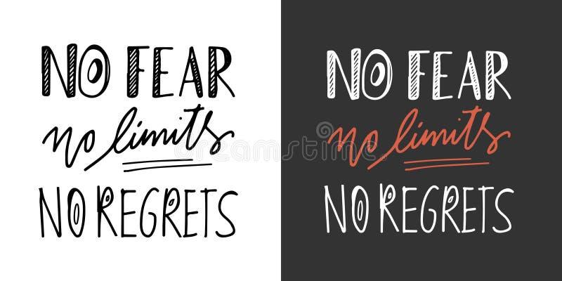 Geen Vrees Geen Grenzen Geen het van letters voorzien en de douanetypografie van de spijthand voor uw ontwerp vector illustratie
