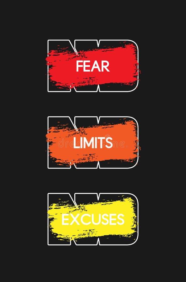 Geen Vrees Geen Grenzen Geen verontschuldigingen Motievenillustratie Inspirerend Training en van de Geschiktheidsgymnastiek Motiv stock illustratie
