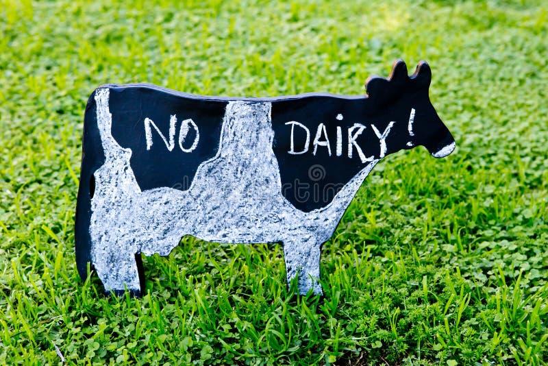 Geen Zuivelfabriek met de hand geschreven in krijt op bordkoe op gras royalty-vrije stock fotografie