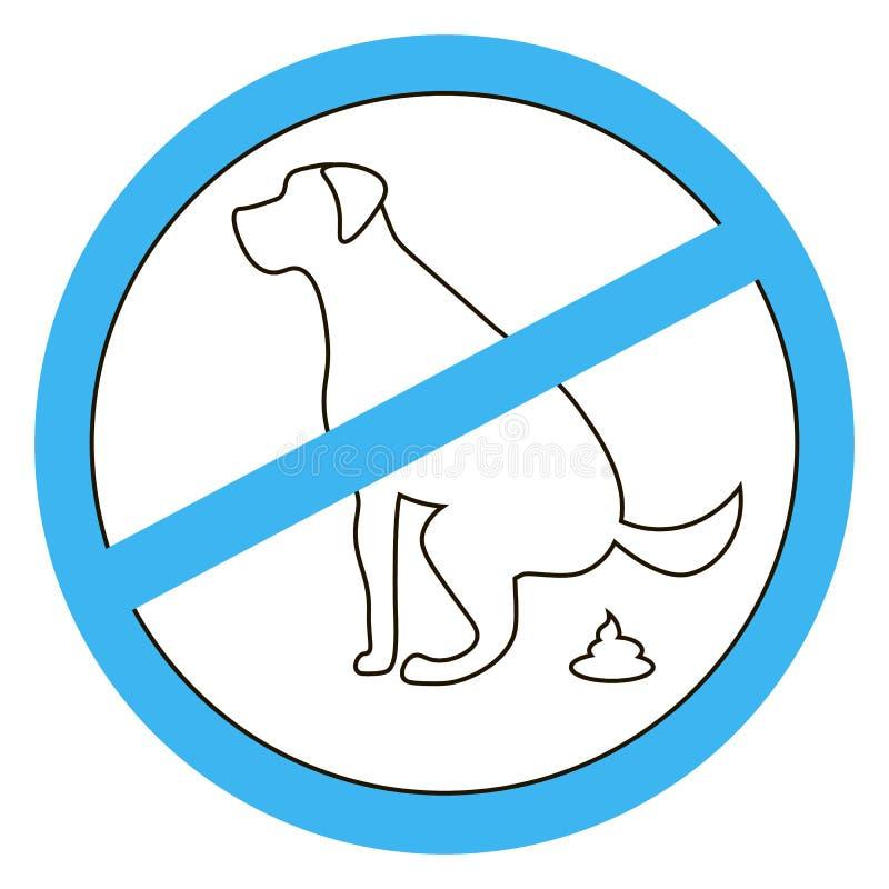 Geen zwart silhouet van het hond pooping teken op witte achtergrond vector illustratie
